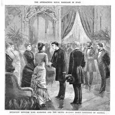Meeting of King Alfonso of Spain & Marie Christine of Austria-Antique Print 1879