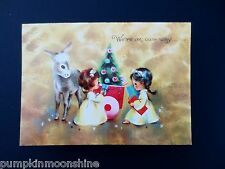 #J70-  Unused Mid Century Glitter Christmas Greeting Card Angels with Gifts