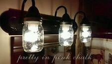 Oil Rubbed Bronze 3 lighted Mason jar fixture. Country, rustic, & vintage!