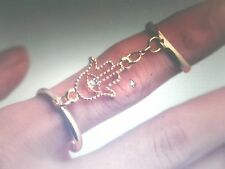 R025 New Fashion Lovely Golden Double Band Finger Rings Hamsa Evil Eye Rings *+