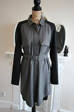 BNWT SEE BY CHLOE Grey Black Shirt Dress Size 14 L 46 Long Sleeves Tunic Large