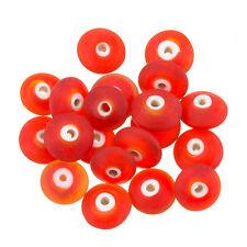 Donut forme mat givré rouge perle de verre 12x5mm pack de 20 (C38/1)
