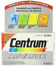 CENTRUM ADVANCE A TO ZINC  MULTIVITAMIN  30 TABLETS