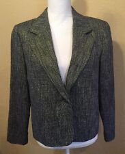 Orvis Womens Black And White Polyester/wool/Silk Blazer Size 8