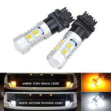 2x 3157 Dual Color Switchback 20 SMD 5730 LED Bulb Turn Signal light White Amber