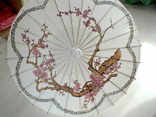 JAPANESE WHITE PAPER PARASOL CHINESE PINK CHERRY BLOSSOM WEDDING FANCY PARTY b1