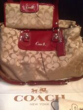 Coach Ashley Signature C Burgundy Red Silver Tote 15510 +Wallet+ Dust Cover Set
