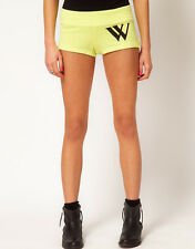 WILDFOX COUTURE VARSITY CHEER YELLOW SWEAT SHORTS L 14 10 42!