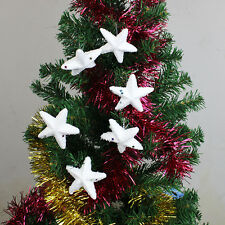 6pcs White Foam Snow Stars Christmas Tree Hanging Baubles Ornament Decorations