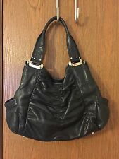 B. MAKOWSKY BLACK SOFT SUPPLE LEATHER HANDBAG PURSE HOBO SATCHEL GATHERED EUC
