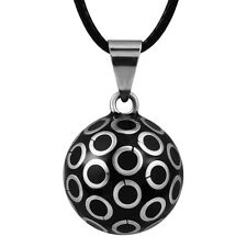 Silver Circle Pattern Harmony Ball Pendant Pregnancy Bola Chime Ball Necklace