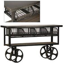"""61"""" L Industrial Trolly Steel Rustic Iron Wheels 4 Baskets Reclaimed Wood Shelf"""