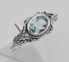 Genuine Blue Topaz  Ring - Antique Vine Pattern Sterling Size 7 - Free Shipping