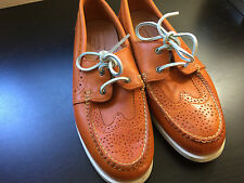 NEW MEN'S THOM BROWNE  NEW YORK ORANGE LEATHER SHOES  SIZE 10.5