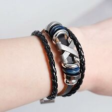 Leather braided metal stud X Men's woman's wristband surfer bracelet UK seller