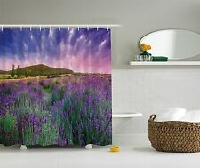 Photo Purple Lavender Field Mountains Nature Fabric Shower Curtain Bathroom