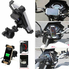 "Universal Motorcycle 3.5-7"" Phone GPS Mount Holder with USB Charger For Suzuki"