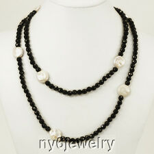 Gorgeous Black Crystal Long Evening Necklace with White Coin Pearl Beads 48""