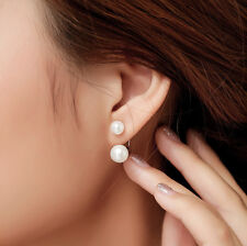 New Fashion Lady 925 Silver Plated Freshwater Pearl Ear Stud Dangle Earrings