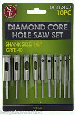 10pc 40 Grit Diamond Core Hole Saw Drill Set 1/8-1/2 Bits for Dremel Rotary Tool
