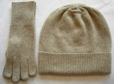 Oatmeal Brown 100% Pure cashmere Hat and Glove gift set Ski beanie Winter Cap