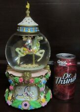 RARE Disney Mickey Mouse Minnie Carousel Horse Donald Daisy Snowglobe Music Box