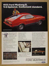 1975 Ford Mustang II Mach I red car photo vintage print Ad