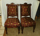 Pair Walnut Carved Renaissance Revival Parlor Chairs / Sidechairs (SC159)