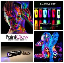 8 x UV Paint Glow Neon Fluorescent Face & Body Paint 8 x 10ml Set Wax Based NEW