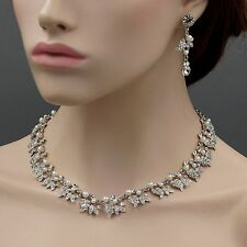 Rhodium Plated Pearl Crystal Necklace Earrings Bridal Wedding Jewelry Set 00738