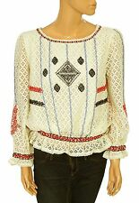 134360 NWT Hoss Intropia Anthropologie Floral Pattern Ivory Blouse Top M 38