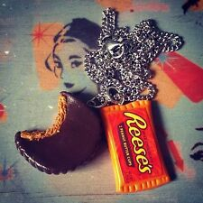 UNIQUE Handmade REESES PEANUT BUTTER CUP NECKLACE chocolate CHARMS designer