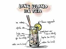 ART PRINT POSTER PAINTING ALCOHOL COCKTAIL RECIPE LONG ISLAND ICE TEA LFMP0938