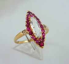 erlesener Jugendstil Ring Gold Rubine Diamanten Aquamarin Gr. 56/17,5  (A1497)