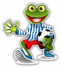 "Frog Football Player Funny Cartoon Soccer Car Bumper Sticker Decal 4"" x 5"""