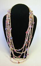 TRIFARI Pink Art Glass Bead Multi Strand Necklace W Gold Tone Butterfly Clasp