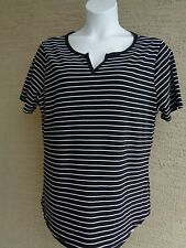 NEW Just  My Size S/S Notch Neck Striped Tee Top 5X  Black & White Stripe