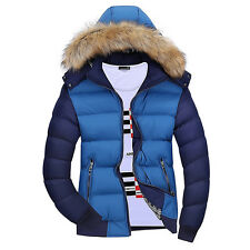 Warm Winter Men's Outwear Trench Coat Fur Hooded Jacket Parka Overcoat Padded