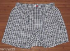 Mens Tommy Hilfiger Woven Cotton Boxers Open Fly Blue White Plaid-S