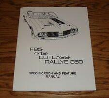 1970 Oldsmobile Cutlass F85 442 Rallye 350 Specification & Feature Manual 70