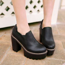 Womens High Thick Heel Platform Vintage chelsea Retro Spring Boots Shoes Pumps