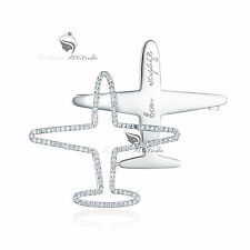 18K WHITE GOLD GP GENUINE SWAROVSKI CRYSTAL PLANE BROOCH AEROPLANE