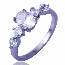 fashion White Gold Filled Clear Crystal promise Engagement womens Ring Size 5