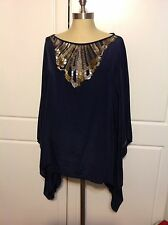 Chico's Ladies Navy Sequined Top Size M/l 100% Silk