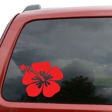 "Hibiscus Flower Hawaii Car Window Decor Vinyl Decal Sticker- 6"" Wide White"