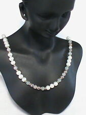 """Lady Remington """"LR"""" Faux pearl , silver beaded Necklace"""