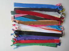 "40 ASSORTED INVISIBLE CONCEALED NYLON CLOSED ENDED 10"" ZIP ZIPS ZIPPER ZIPPERS"