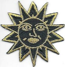 Small Gold Black Pagan Astrology Sun Face Embroidery Applique Patch