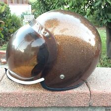 Vintage NJL Motocross Helmet METALFLAKE Gold Copper Shield Moto Motorcycle 1973