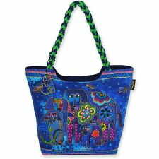 """""""Canine Family"""" Laurel Burch Large Canvas Scoop Tote Bag"""